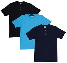 Fleximaa Men's Cotton Henley Neck T-Shirts (Pack of 3) (hbla-hblue-hnbl)