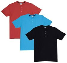 Fleximaa Men's Cotton Henley Neck T-Shirts (Pack of 3) (hbla-hblue-hcred)
