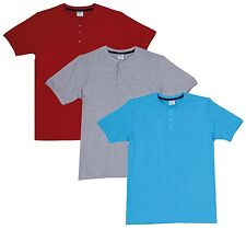 Fleximaa Men's Cotton Henley Neck T-Shirts (Pack of 3) (hred-hblue-hgrey)