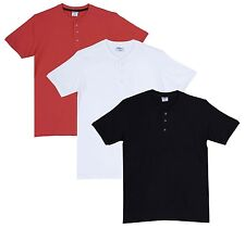 Fleximaa Men's Cotton Henley Neck T-Shirts (Pack of 3) (hwh-hbla-hcred)