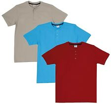Fleximaa Men's Cotton Henley Neck T-Shirts (Pack of 3) (hred-hblue-hbis)