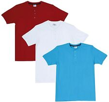 Fleximaa Men's Cotton Henley Neck T-Shirts (Pack of 3) (hwh-hred-hblue)
