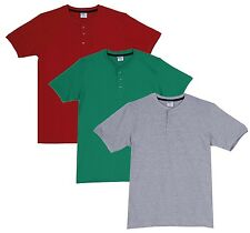 Fleximaa Men's Cotton Henley Neck T-Shirts (Pack of 3) (hred-hpgr-hgrey)