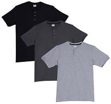 Fleximaa Men's Cotton Henley Neck T-Shirts (Pack of 3) (hbla-hsgrey-hgrey)