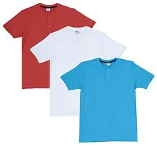 Fleximaa Men's Cotton Henley Neck T-Shirts (Pack of 3) (hwh-hblue-hcred)