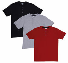 Fleximaa Men's Cotton Henley Neck T-Shirts (Pack of 3) (hbla-hred-hgrey)