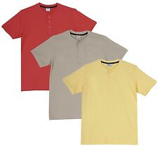 Fleximaa Men's Cotton Henley Neck T-Shirts (Pack of 3) (hyell-hbis-hcred)