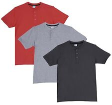 Fleximaa Men's Cotton Henley Neck T-Shirts (Pack of 3) (hsgrey-hgrey-hcred)
