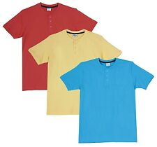 Fleximaa Men's Cotton Henley Neck T-Shirts (Pack of 3) (hblue-hyell-hcred)
