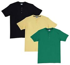 Fleximaa Men's Cotton Henley Neck T-Shirts (Pack of 3) (hbla-hyell-hpgr)