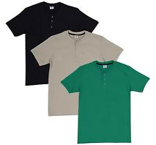 Fleximaa Men's Cotton Henley Neck T-Shirts (Pack of 3) (hbla-hpgr-hbis)