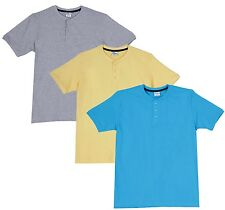 Fleximaa Men's Cotton Henley Neck T-Shirts (Pack of 3) (hblue-hyell-hgrey)