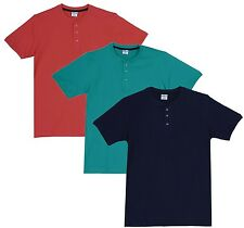 Fleximaa Men's Cotton Henley Neck T-Shirts (Pack of 3) (hnbl-hrgr-hcred)