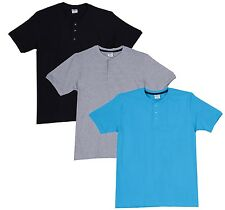 Fleximaa Men's Cotton Henley Neck T-Shirts (Pack of 3) (hbla-hblue-hgrey)