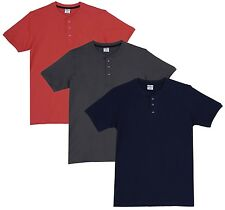 Fleximaa Men's Cotton Henley Neck T-Shirts (Pack of 3) (hnbl-hsgrey-hcred)