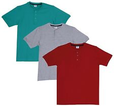 Fleximaa Men's Cotton Henley Neck T-Shirts (Pack of 3) (hred-hrgr-hgrey)