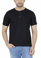 Fleximaa Men's Cotton Henley Neck T-Shirt Black Color. (hblack)