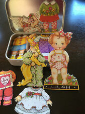 Baby Lilah Engelbreit Fabric Paper Doll Clothing and Accessories in a tin box