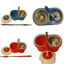 NEW WITH ONE HAND 360 DEGREE SPINNING MOP BUCKET HOME CLEANING RED & BLUE COLOUR