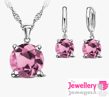 925 Sterling Silver 7mm Round Pink Crystal Pendant Necklace Earring Women Set