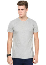 INKOVY Grey Colour Cotton Fabric T-Shirt For Men (INKOVY-CREW-HALF-GREY)