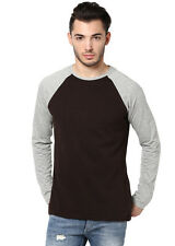 IZINC REGLAN Brown and Grey Round Neck Full Sleeves T-Shirt