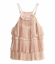 H&M Conscious Exclusive powder pink sleeveless pleated tiered top UK 8 12