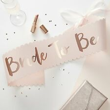 CLASSY VINTAGE PINK & ROSE GOLD BRIDE TO BE HEN PARTY SASH FAVOURS & ACCESSORIES