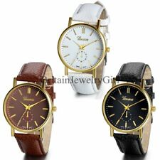 New Men's Women's Casual Analog Dial Leather Band Quartz Movement Wrist Watch