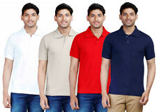 Fleximaa Mens Plain Collar Polo T-Shirt With Pocket (Pack of 4) - Low Price