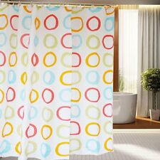 180×180CM Concentric Rounded Polyester Waterproof Bathroom Shower Curtain Hooks