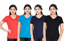 Fleximaa Womens Plain V-Neck T-Shirt (Pack of 4) - Low Price