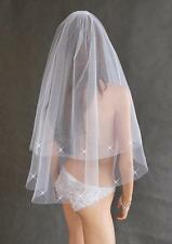 "New 2T White Ivory Wedding Bridal Cut Edge Elbow Veil With Comb 29"" - Crystals"