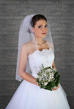 "New Womens 1T White / Ivory Wedding Bridal Elbow Veil With Comb 32"" - Beads"