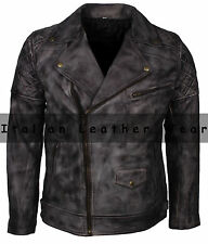 New Mens 70's Jacket Real Leather Vintage Motorcycle Biker Racer Black Waxed
