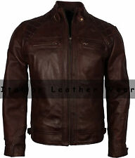 Mens Retro Designer Brown Waxed Real Leather Quilted Motorcycle Racer Jacket