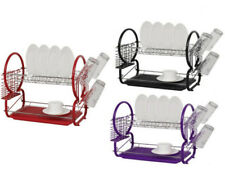 2 TIER CHROME PLATE DISH CUTLERY CUP DRAINER RACK DRIP TRAY PLATES HOLDER NEW