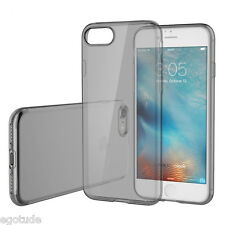 For Apple iPhone 7 Transparent Black Soft Silicone Camera Cap Back Case Cover