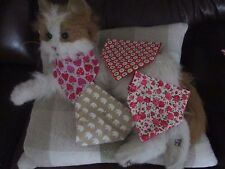 Handmade XS Cat &Tiny Dog Bandanna Red Beige Pink  slide your collar through top