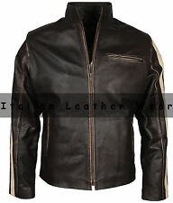 Men Vintage Cafe Racer Motorcycle Biker Rider Distress Real Cow Leather Jacket