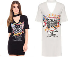 New Womans American Eagle Choker Neck Long Short Sleeve T Shirt Mini Dress Top