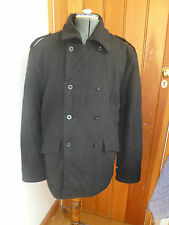 KICKERS BLACK WOOL BLEND DOUBLE BREASTED WINTER COAT JACKET XL QUILTED LINING