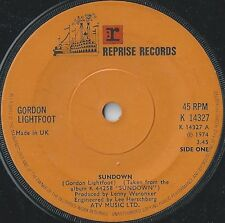 "Gordon Lightfoot-Sundown 7"" 45-Reprise Records, K 14327, 1974, Company Sleeve"