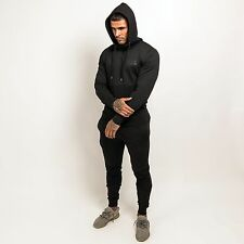 Masters Of Ceremony Full Zip Through Hooded Lux Tracksuit Top & Bottoms Black