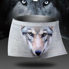 Manly 3D Vivid Wolf Printed Cotton Boxer Briefs Underwear Shorts Pants for Men