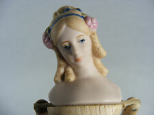 Vintage Shackman Hand Made Wood Victorian Doll with Bisque Head  Japan, 9