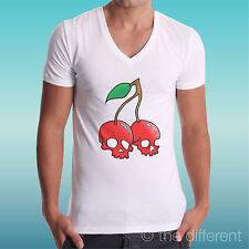 "CAMISETA DE HOMBRE AV "" CHERRY CRÁNEO CEREZAS CALAVERA "" IDEA ROAD TO HAPPINESS"
