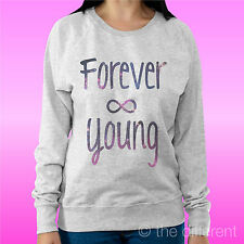 """SUDADERA MUJER LUZ SUÉTER GRIS CLARO """" FOREVER JOVEN """" ROAD TO HAPPINESS"""