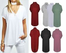 New Ladies Sleeveless Choker V Neck  Loose T-Shirt Top Baggy Oversized Fit 8-26