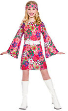 60s 70s Flower Power Hippy Hippie Retro GoGo Kids Girls Fancy Dress Costume 3602